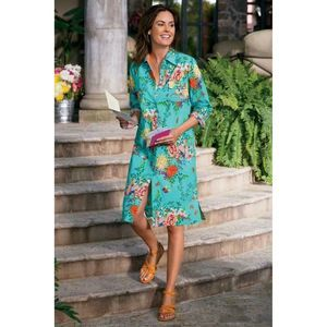 Soft Surroundings Spring Time Floral Shirt Dress